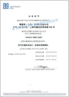 定盛机械OHSAS 18001质量认证